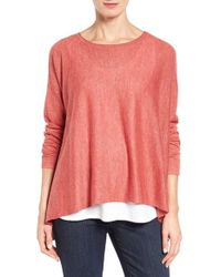 Eileen Fisher | Pink Tencel Lyocell Blend Ballet Neck Top | Lyst