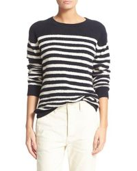 VINCE | White Engineered Stripe Wool Blend Pullover | Lyst