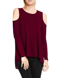Vince Camuto - Purple Cold Shoulder Top - Lyst