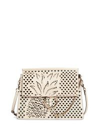 Chloé   White Medium Faye Perforated Leather Shoulder Bag   Lyst