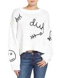 Wildfox | White Duh Crewneck Sweater | Lyst