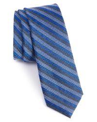 Calibrate | Blue Como Stripe Silk Blend Skinny Tie for Men | Lyst
