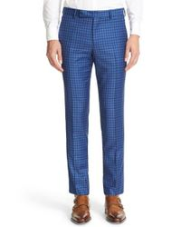 Paul Smith | Blue Check Wool Trousers for Men | Lyst