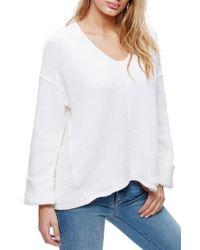 Free People   White La Brea V-neck Sweater   Lyst