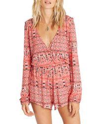 Billabong | Pink Picture Perfect Print Romper | Lyst