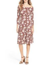 Soprano | Pink Off The Shoulder Floral Print Fit & Flare Dress | Lyst