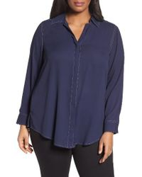 Foxcroft | Blue Tunic Shirt | Lyst