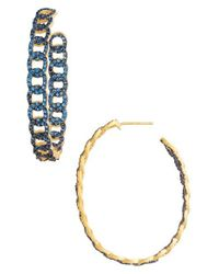 Freida Rothman - Metallic Baroque Blues Hoop Earrings - Lyst