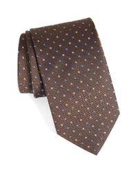Eton of Sweden | Brown Dot Silk Tie for Men | Lyst