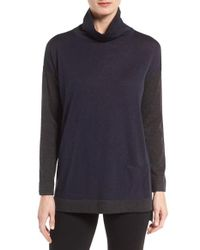 Eileen Fisher | Blue Fine Merino Jersey Turtleneck Sweater | Lyst