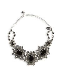 Natasha Couture - Black Crystal Statement Necklace - Lyst