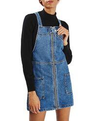 TOPSHOP | Blue Denim Utility Pinafore Dress | Lyst
