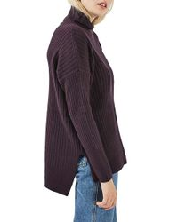 TOPSHOP | Purple Oversized Funnel Neck Sweater | Lyst