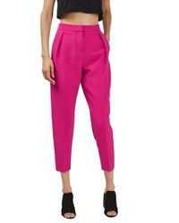 TOPSHOP | Pink Structured Peg Trousers | Lyst