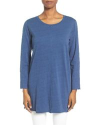 Eileen Fisher | Blue Slubby Organic Cotton Jersey Top | Lyst
