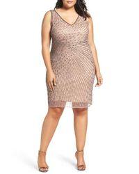 Adrianna Papell | Multicolor Beaded Sheath Dress | Lyst