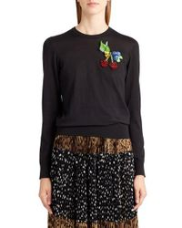 Dolce & Gabbana | Black Embellished Silk Sweater | Lyst