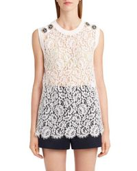 Dolce & Gabbana | White Sleeveless Lace Top | Lyst