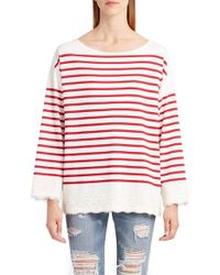 Dolce & Gabbana | Red Lace Stripe Tee | Lyst
