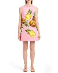 Dolce & Gabbana | Pink Pineapple Jacquard Shift Dress | Lyst