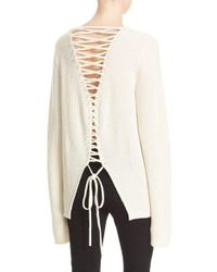 A.L.C. | White Markell Lace-up Back Wool & Cashmere Sweater | Lyst