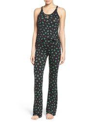 Betsey Johnson | Black Mesh Inset Pajamas | Lyst