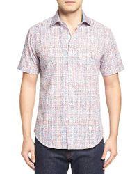 Bugatchi | White Shaped Fit Print Short Sleeve Sport Shirt for Men | Lyst