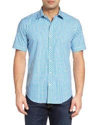 Bugatchi | Blue Shaped Fit Gingham Sport Shirt for Men | Lyst