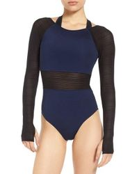 Ivy Park | Blue Linear Mesh Double Layer Bodysuit | Lyst