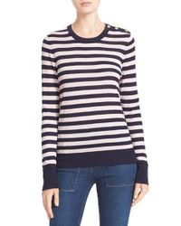 Equipment | Blue Ondine Stripe Silk & Cashmere Sweater | Lyst