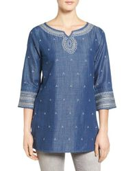 NIC+ZOE - Blue Embroidered Denim Tunic - Lyst