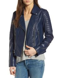 Andrew Marc | Blue Leanne Faux Leather Jacket | Lyst