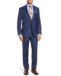 David Donahue | Blue Ryan Classic Fit Windowpane Wool Suit for Men | Lyst