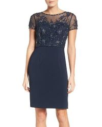 JS Collections   Blue Embellished Sheath Dress   Lyst