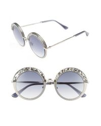 Jimmy Choo   Metallic Gotha/s 50mm Round Sunglasses   Lyst
