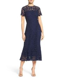 Shoshanna | Blue Guipure Lace Midi Dress | Lyst