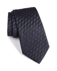 Armani | Blue Shadow Herringbone Silk Tie for Men | Lyst