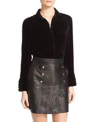 FRAME | Black Velvet Victorian Blouse | Lyst