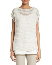 Lafayette 148 New York | Multicolor Relaxed Bateau Neck Sweater With Tank | Lyst