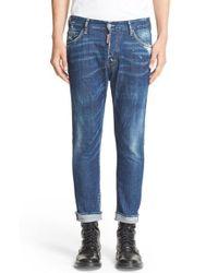 DSquared² | Blue Military Glam Frayed Hem Jeans for Men | Lyst