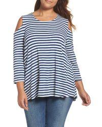 Bobeau - White Stripe Rib Knit Cold Shoulder Top - Lyst