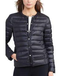 Lauren by Ralph Lauren | Packable Quilted Collarless Down Jacket, Black | Lyst