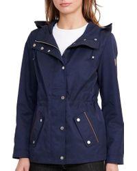 Lauren by Ralph Lauren | Blue Hooded Drawcord Jacket | Lyst