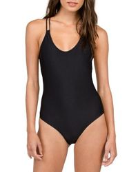 Volcom | Black Simply Solid One-piece Swimsuit | Lyst