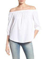 Bobeau | White Off The Shoulder Cotton Poplin Top | Lyst