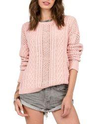 Volcom | Pink Mess Round Crewneck Sweater | Lyst