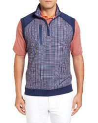 Bobby Jones | Blue Xh20 Grid Quarter Zip Stretch Golf Vest for Men | Lyst