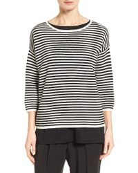 Eileen Fisher | Black Stripe Silk Blend Sweater | Lyst