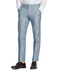 Bonobos | Blue Flat Front Solid Cotton Trousers for Men | Lyst