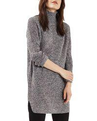 TOPSHOP   Gray Grunge Funnel Neck Sweater Dress   Lyst